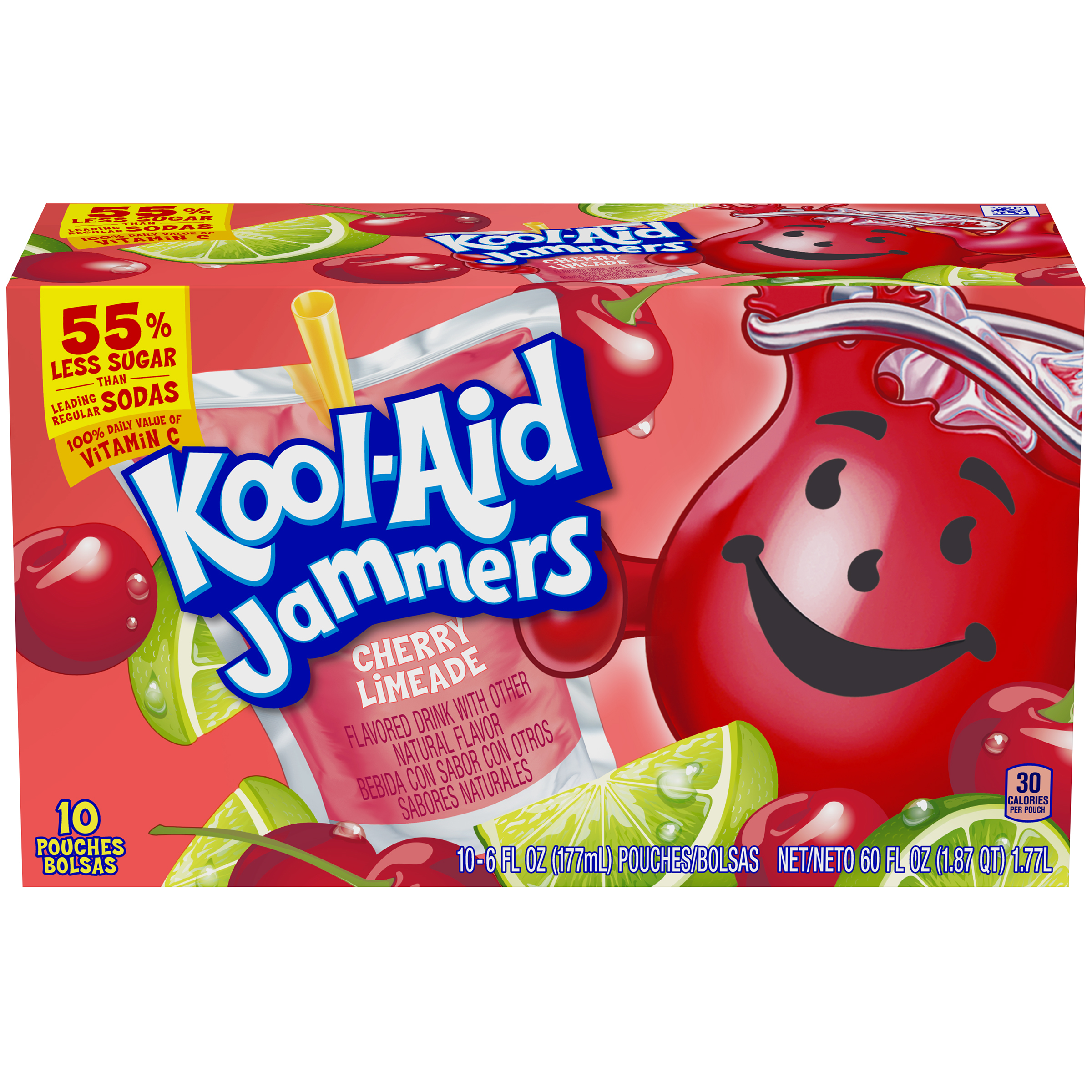 Kool-Aid Jammers Cherry Limeade  Flavored Drink 60 fl oz Box (10-6 fl oz Pouches) image